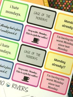 MONDAYS Stickers Set:  High-quality handmade stickers for your planner (Erin Condren, Happy Planner, Paper Plum Planner, etc.) Printed on matte