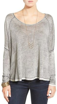 Free People 'Machiatto' Linen Blend Dolman Tee