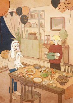Cute Cartoon Wallpapers, Animes Wallpapers, Pretty Art, Cute Art, Aesthetic Art, Aesthetic Anime, Arte 8 Bits, Cute Couple Art, Anime Scenery Wallpaper