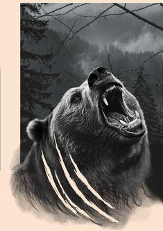Lion Head Tattoos, Scary Tattoos, Deer Tattoo, Lion Tattoo, Love Tattoos, Tattoos For Guys, Grizzly Bear Tattoos, Forest Tattoos, Bear Drawing
