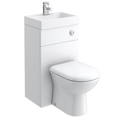 The Nova Gloss White Combined Washbasin & WC Pan features a soft close seat. Now in stock and available online from Victorian Plumbing.