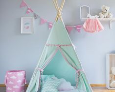 Teepee, mint and pink, tipi, children's teepee, playtent, zelt, wigwam, tent, kids teepee, high quality teepee