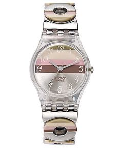 Swatch Watch, Women's Swiss Metallic Dune Stainless Steel and Multi-Colored Plastic Link Bracelet 25mm LK258G - Spring Watch Trends - Jewelry & Watches - Macy's