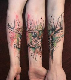 Watercolor Deer Tattoo on Forearm - 45 Inspiring Deer Tattoo Designs  <3 <3