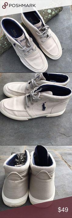 Men's Polo high top sneakers Light Tan canvas high top sneakers by Polo. Polo by Ralph Lauren Shoes Sneakers