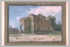 Inventaire du département des Arts graphiques - Ruines des bains antiques d'Aderno, sur les flancs de l'Etna - HOUEL Jean Pierre