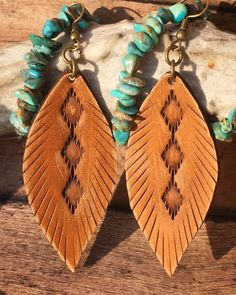 "These hand made ""Mini Tribal"" leather feather earrings are my latest design and most Popular! The first picture listed is ""Tanned Hide,"" the third picture is ""Creamy Vanilla,"" the fourth picture is ""Tanned Hide and Bear Brown,"" and the fifth picture is ""Mustard"", sixth picture is"