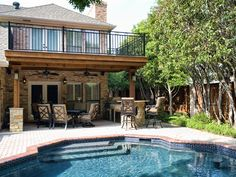 Our landscape consultants will come to your home and help you choose the perfect swimming pool design for your outdoor space. Modern Outdoor Kitchen, Outdoor Kitchens, Outdoor Living, Outdoor Decor, Swimming Pool Designs, Swimming Pools, Covered Patio Design, Covered Patios, Backyard Fences