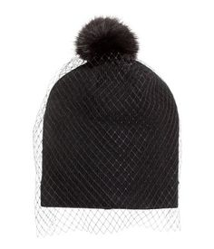 Fine-knit hat with a veil. Faux fur pompom at top. Black. | H&M Accessories