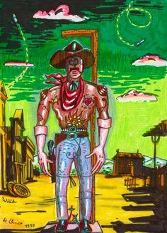 Der große Metaschießiger  (The Great Metashooter), 1990 by J.G.Wind - / Neo metaphysical drawing in the manner of Giorgio de Chirico / Pittura metafisica / Western art