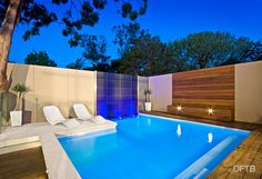 OFTB Melbourne landscaping, pool design  construction project - plunge pool, water feature wall, pool deck inc. bench, raised pool lounge, ...