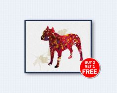 Items similar to Staffordshire Terrier Watercolor Poster on Etsy Dog Poster, Watercolor Art, Pitbulls, Terrier, Moose Art, My Arts, Handmade Gifts, Dogs, Animals