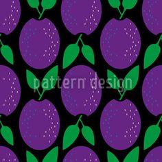 Pflaumen Dekor - Retro Muster mit stilisierten Pflaumen.