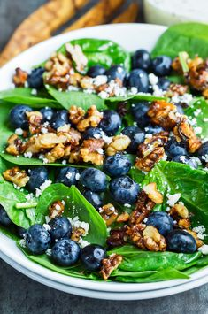 This fresh and fruity Blueberry Spinach Salad is tossed with a homemade lemon poppyseed dressing that is crazy easy to make with just a few tasty ingredients. We love ours topped with candied walnuts and creamy feta the ultimate fruit and veggie salad! Easy Summer Salads, Summer Salad Recipes, Pasta Salad Recipes, Healthy Salad Recipes, Blueberry Salad, Walnut Salad, Soup And Salad, Candied Walnuts, Food Processor Recipes