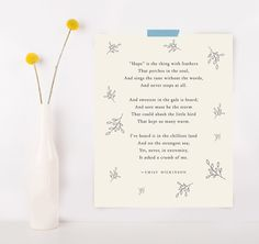 Emily Dickinson poetry quote print hope is the by Riverwaystudios