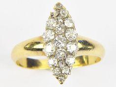 FABULOUS ANTIQUE EDWARDIAN ENGLISH 18K GOLD MARQUISE CLUSTER DIAMOND RING c1910