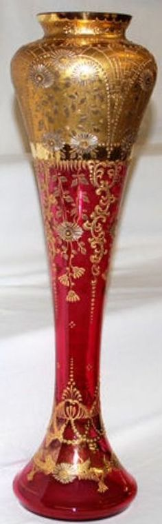 Moser Glass; Vase, Cranberry, Scrolls & Floral, Gold Enamel Decoration, 20 inch.