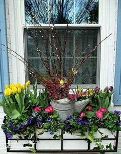 Window box with spring flowers and an old watering can
