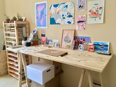 How graphic designer and illustrator Jenny Lelong stays inspired Art Studio Room, Art Studio Design, Art Studio At Home, Home Art, Design Studios, Design Design, Artist Workspace, Workspace Design, Workspace Inspiration