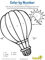 Hot Air Balloon Color by Number Coloring Page Printable #earlylearning #prek
