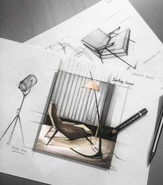 Furniture Chair Design Ideas - - - Stainless Steel Furniture Kitchen Counters - Plastic Patio Furniture Makeover How To Paint Interior Design Renderings, Drawing Interior, Interior Rendering, Interior Sketch, Drawing Furniture, Industrial Design Sketch, Sketch Markers, Hand Sketch, Architecture Drawings