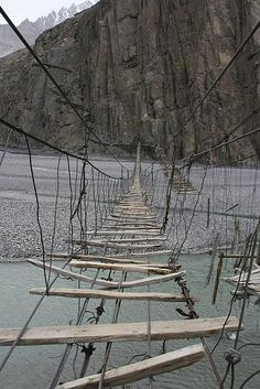 Yikes, rope bridge, more like string bridge