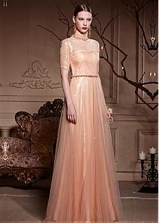 In Stock Charming Malay Satin & Lace Tulle & American Densified Net Illusion High A-line Long Prom Dress With Lacework