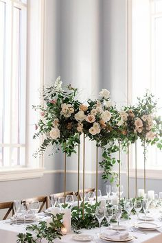 A Neutral Wedding Palette with Greenery Tall Greenery Wedding Centrepieces, Neutral Wedding Table Setting, Blush and Cream Wedding Centrepieces, Greenery Floral. Tall Wedding Centerpieces, Wedding Flower Arrangements, Wedding Decorations, Wedding Bouquets, Tall Flower Arrangements, Flower Bouquets, Decoration Buffet, Centerpiece Ideas, Centerpiece Flowers