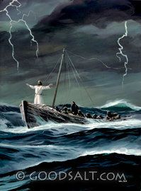 Jesus in the Storm - it's a great & insightful story - keep your eyes fixed on Jesus and not the storm and you can walk on water.....