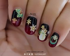 Christmas theme / Winter Nails. For more details: http://www.alpsnailart.com/christmas-nails-rouge-louboutin-nail-polish-bottle-inspired-red-black-gradient-nails/#