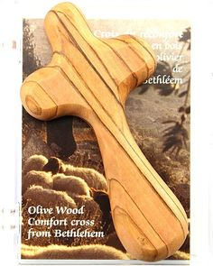 Olive Wood Comfort Cross comes perfectly made to fit comfortably in your hand. Made in Bethlehem! Catholic Books, Bethlehem, Projects To Try, Wood, Fit, How To Make, Woodwind Instrument, Nativity, Trees