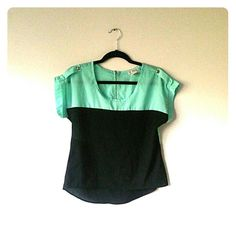 Colorblock top Baby blue and black color block top a'gaci Tops Blouses