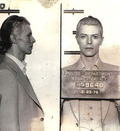 David Bowie Mugshot: This is the most goddamned dapper mug shot we have ever seen. It looks like Bowie must have stolen jewels or a woman's heart. Ziggy Stardust, New York In March, Nyc March, January 8, Celebrity Mugshots, Celebrity Deaths, Photo Star, Classy People, Diane Arbus