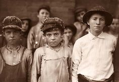 Children who worked in a Cotton Mill in Pell City, Alabama - 1910 - They were probably robbed of their childhood - look at their faces.