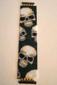 Skulls Skulls Skulls Seed Bead Peyote Stitch by galaxyofglitter
