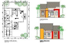 Denah Rumah Dan Tampak - Kreasi Rumah Home Design Plans, Floor Plans, House Design, How To Plan, Interior, Modern, Trendy Tree, Design Interiors, House Design Plans
