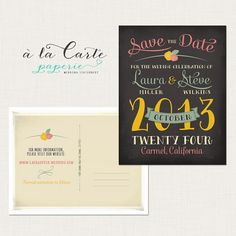 Chalkboardinspired Wedding Save the Date by alacartestudio on Etsy, $15.00