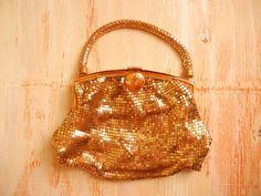 Schiaparelli  by Whiting and Davis Art Deco Mesh Clutch | 1930's Gold Clutch by GracedVestige on Etsy