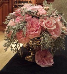 Pale pink roses with tons of dusty miller_ www.efilasvegas.com #EnchantedFloristLV