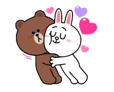 LINE Official Stickers - Brown & Cony Heart Melting Romance Example with GIF Animation Love Cartoon Couple, Cute Love Cartoons, Cute Couple Art, Cute Cartoon, Cute Love Images, Cute Love Gif, Chibi Cat, Cute Chibi, Calin Gif