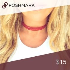 3 strand choker in red High quality suede, red choker, 3 strand, adjustable setting Jewelry Necklaces