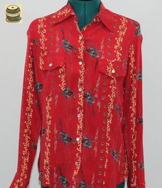 65ad1f684 Yippee Ki Yay · Bright red rayon blouse with cowboy design and by  Bellafatima Pearl Studs, Shirt Dress,