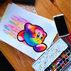 Kirby watercolor by @littlegeekyfanart