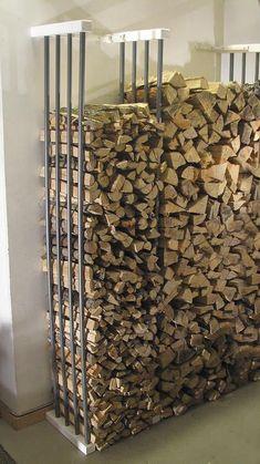 Chic Diy Outdoor Firewood Storage Design Ideas That Will Inspire Everyone Indoor Log Storage, Indoor Log Holder, Industrial Interior Design, Vintage Industrial Decor, Industrial Interiors, Industrial Decorating, Outdoor Firewood Rack, Firewood Holder Indoor, Wood Store