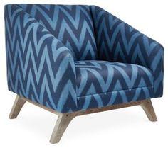 Anna Linen Accent Chair, Navy/Indigo $1699