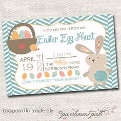 Easter Egg Hunt Invitation - Easter Birthday Invitation - Easter Party Ideas