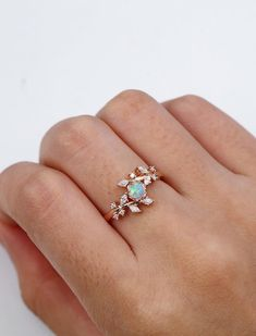Opal Engagement Ring Rose Gold Engagement Ring Diamond Cluster Ring Unique To . - Opal engagement ring rose gold engagement ring diamond cluster ring Unique delicate wedding with le - Engagement Ring Tiffany, Diamond Cluster Engagement Ring, Engagement Ring Settings, Vintage Engagement Rings, Diamond Wedding Bands, Vintage Rings, Diamond Rings, Solitaire Diamond, Solitaire Engagement