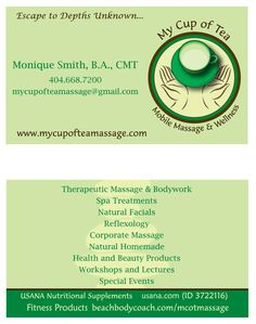 Logo and business card design for My Cup of Tea Massage and Wellness.