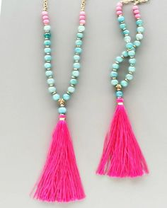 Pretty in pink tassel necklace
