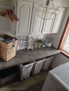 Industrial Glam Laundry Room - Industrial inspired laundry room with feminine touches of crystal and chrome. heavy on the DIY, including concrete counter tops,…